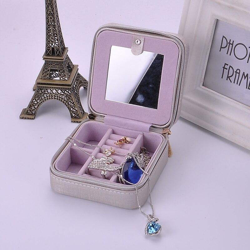 New model jewelry box with mirrow for promotion Fashion jewel casket Zipper leather earrings storage box Bracelet hold box