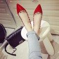 Remaches metálicos planos zapatos mujer otoño 2016 nuevo estilo europeo Schoenen Retro Punk pisos la personalidad del todo fósforo Tenis femenino