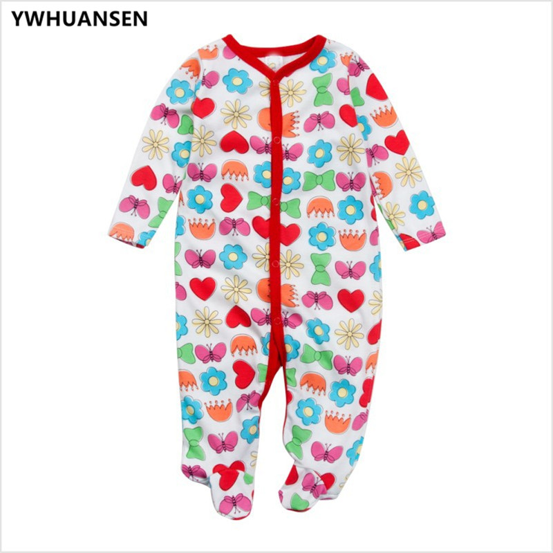 YWHUANSEN 3pcs/lot Cotton Long Sleeve Footies For Babies 0-3 Months Cute Baby Girl Clothes Boys Sliders New Born Body Overalls