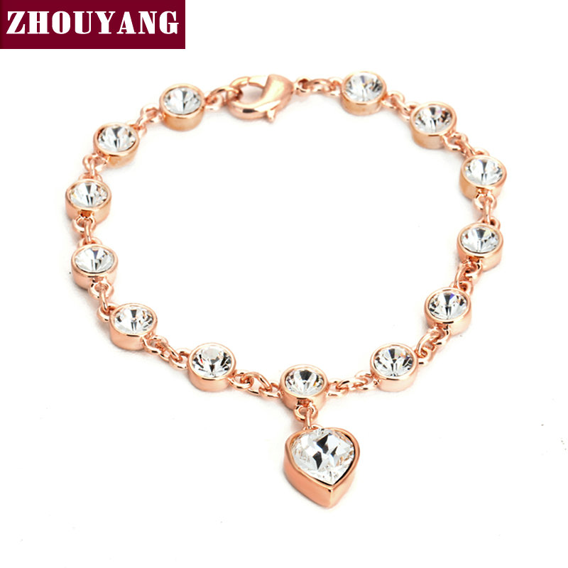 ZHOUYANG Top Quality Heart Rose Gold Color Bracelet Jewelry Austrian Crystals Wholesale ZYH057 ZYH062