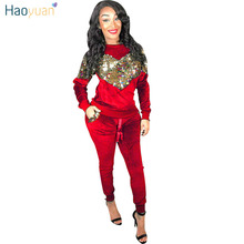 HAOYUAN Autumn Winter Women Two Piece Set Velvet Sequin Tops and Pant Suit 2 Piece