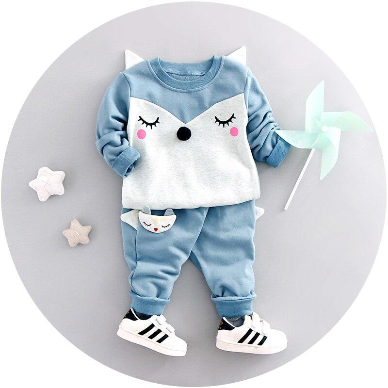 Cartoon Children Set 2 pc Sweatshirts+Pants Suit Boy Long sleeves T-Shirts Girl Pants Cartoon fox Outerwear Kids Coats Baby Sets