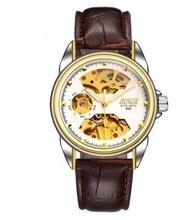 Tourbillon Negocio mans relojes de buena Calidad Correa de Cuero reloj de los hombres esqueleto mecánico automático reloj de pulsera de lujo a prueba de golpes