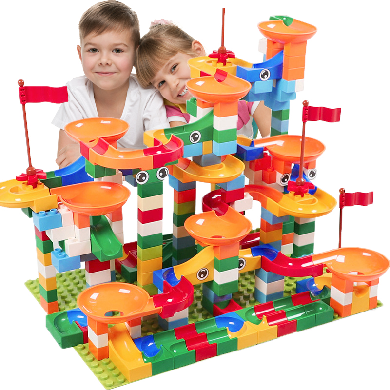 DIY Bricks Funnel-Slide-Blocks Legoinglys Duploed Marble Race Toys For Compatible Children