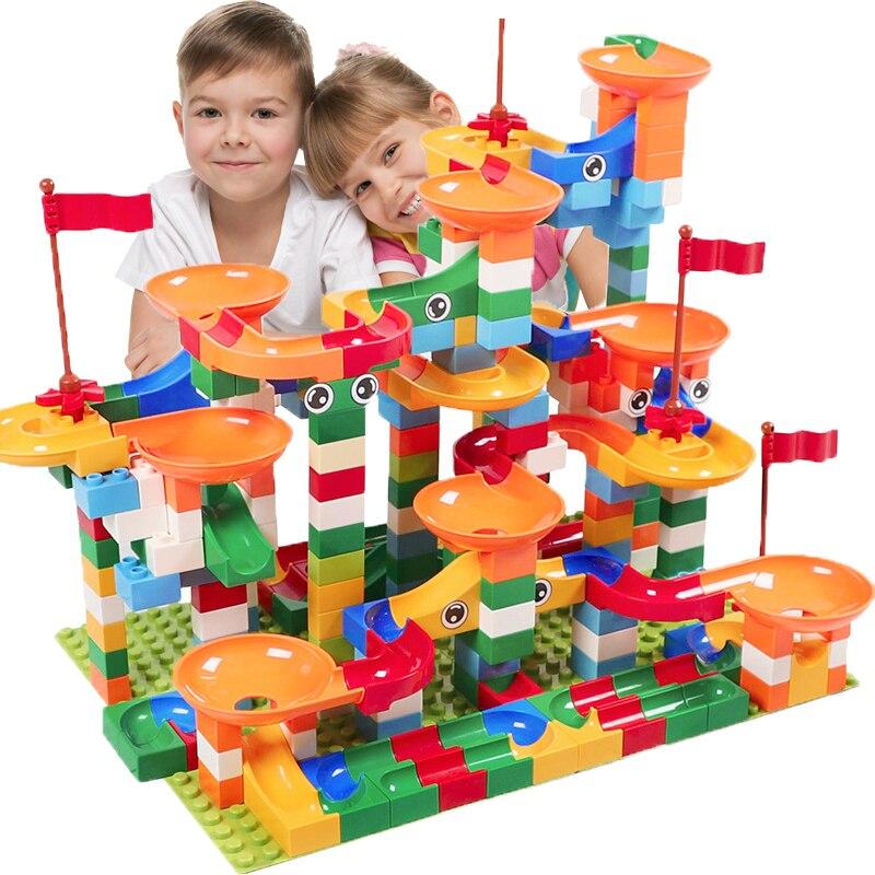 74-296 piezas de mármol carrera laberinto Bola de pista bloques de construcción ABS embudo diapositiva montar ladrillos Compatible LegoINGlys Duploe bloques