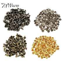 KiWarm 100 set DIY Antique Bronze Brass Round Metal Double Cap Rivets  Buttons Feet Punk Jewelry Shoes Bags clothes Accessories 80e188fd7ca8