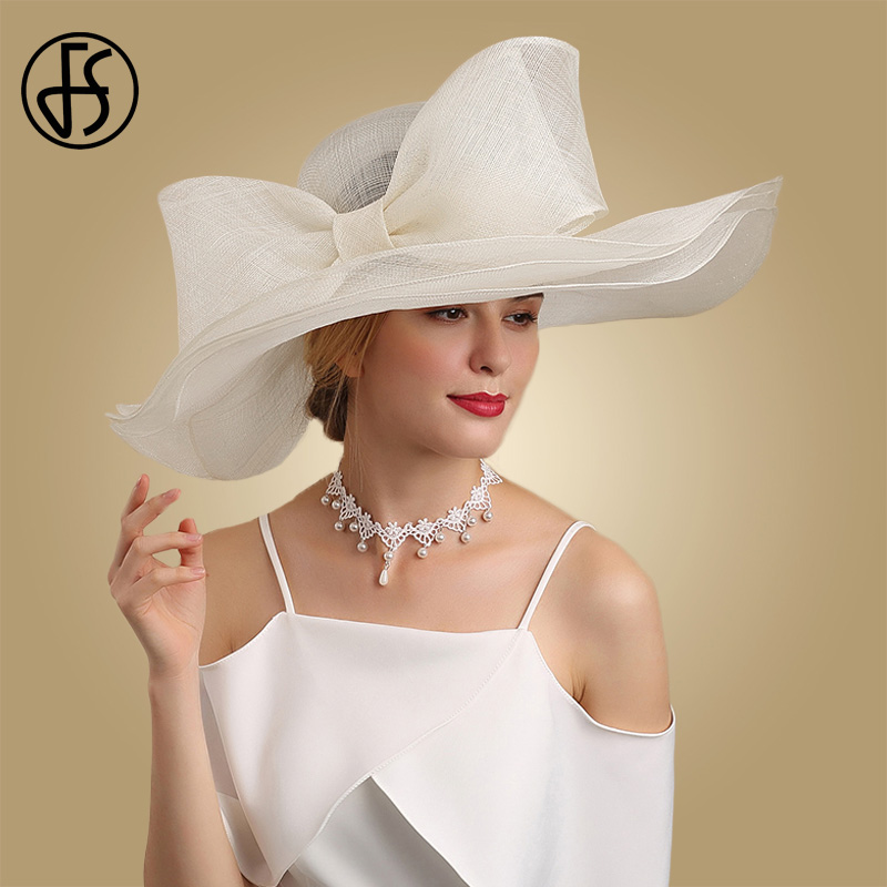 FS Elegant Black And White Fascinator Hats For Wedding Church Sinamay Hats With Big Bowknot Kentucky Derby Hat Fedora Tea Party