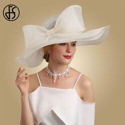 FS Elegante in Bianco E Nero Cappelli di Fascinator Per La Cerimonia Nuziale Chiesa Sinamay Cappelli Con Il Grande Bowknot Kentucky Derby Cappello di Fedora Tè partito