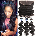 8A Brazilian Virgin Hair With Frontal Closure Brazilian Body Wave Lace Frontal Closure With Bundles Human Hair With Lace Frontal