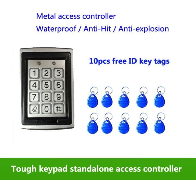 Metal Waterproof Access Control 125K RFID Card Reader Keypad,standalone access control ,10pcs ID tags,min:5pcs