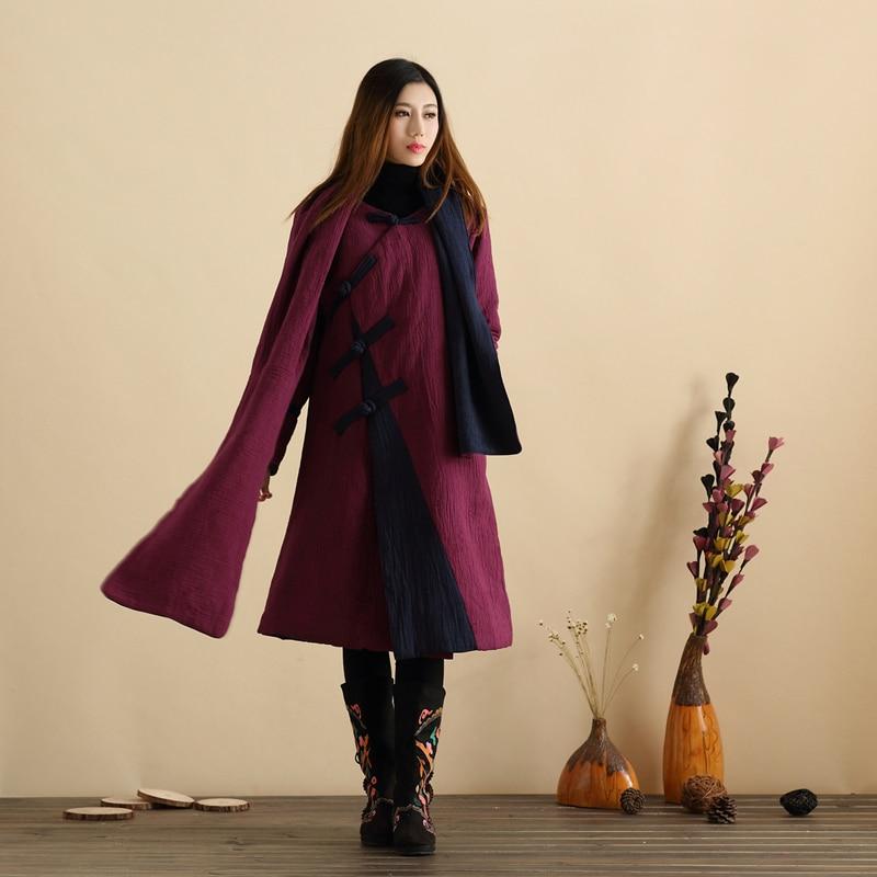 Sonbahar Wadded Uzun Ceket Çin Tarzı Uzun Ceket Kadın Ceket Kış - Bayan Giyimi - Fotoğraf 3