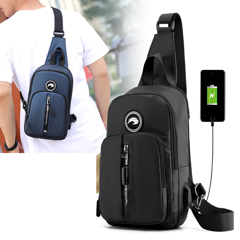 New Male Fashion Trends Nylon Chest Bags USB Charging Casual Military Cross Body One Shoulder Backpack Men Rucksack Sling Bag