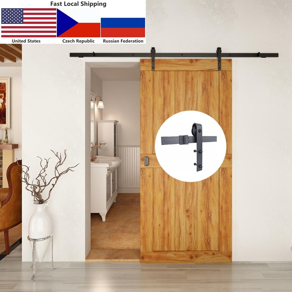 4.9FT/6FT/6.6FT Carbon Steel Black Modern Interior Wood Sliding Barn Door Hardware