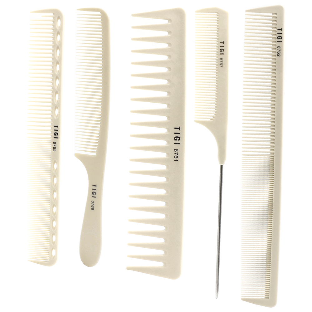 T&G Professional Resin Hairdressing Cut Comb For Barber, 5 Piece Hair Styling Comb Set In Good Material Salon Haircut Comb TG-05