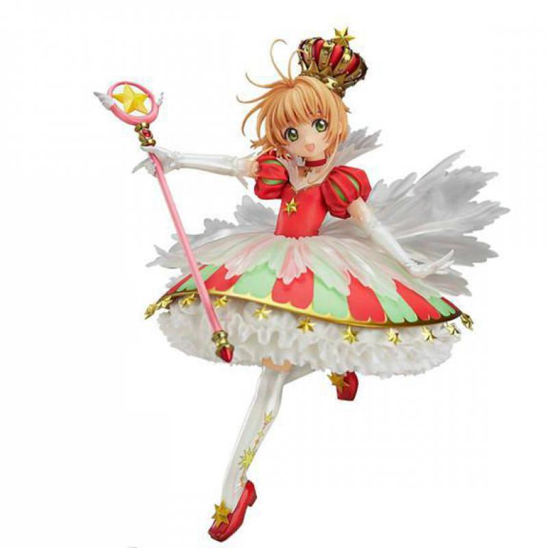 Sakura Tsubasa Kinomoto 27cm Anime Card Captor Sakura 15th Anniversary Angel Crown Sakura Doll Anime Figures Model Collection 8pc set anime card captor sakura pvc figures toys kinomoto sakura figures model collection