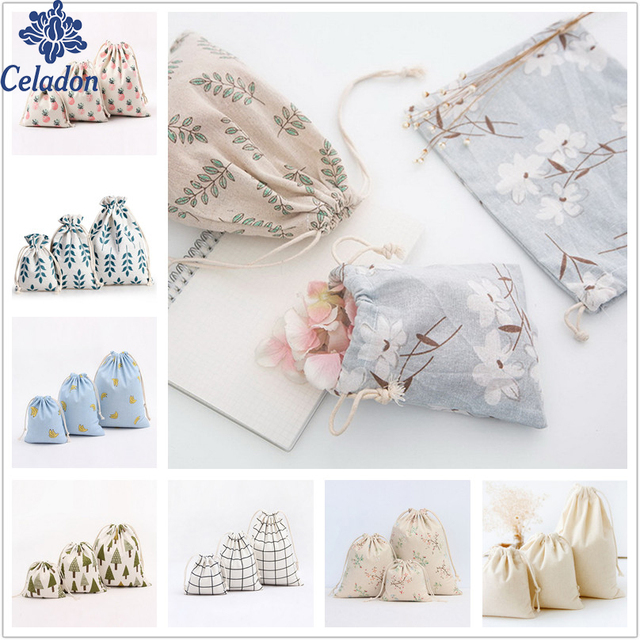 1pcs Flower Tree Pattern Drawstring Cotton Linen Storage Bag