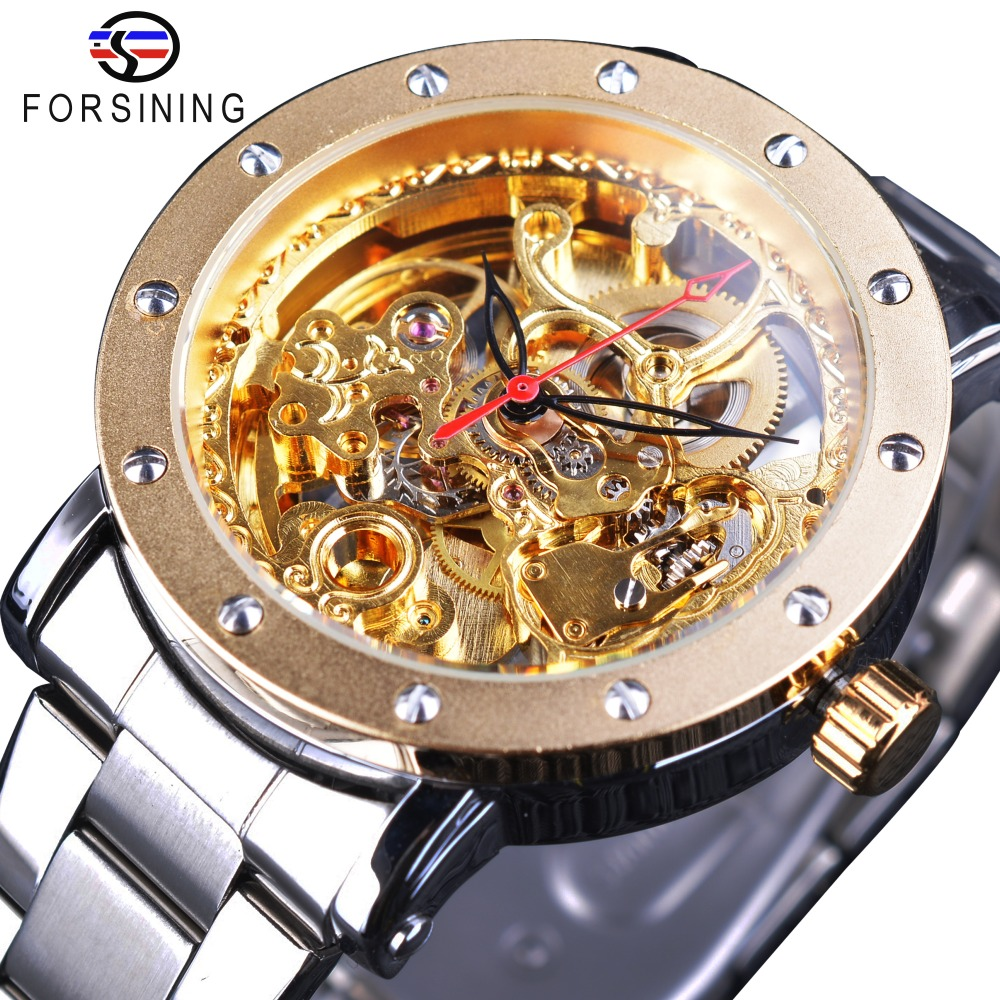 Forsining Fashion Transparent Royal Golden Open Work Skeleton Wristwatch Men Top Brand Luxury Silver Steel Mechanical Male Clock new arrival silver transparent skeleton open face design pocket watch women mens gift clock with 30cm chain p1038c