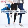 Leiji S 6XL Moda 2016 Corpo Inteiro Alta Mais Elástica tamanho Mulheres casuais Meados de Cintura calças Jeans Skinny Lápis calças Jeans mulher