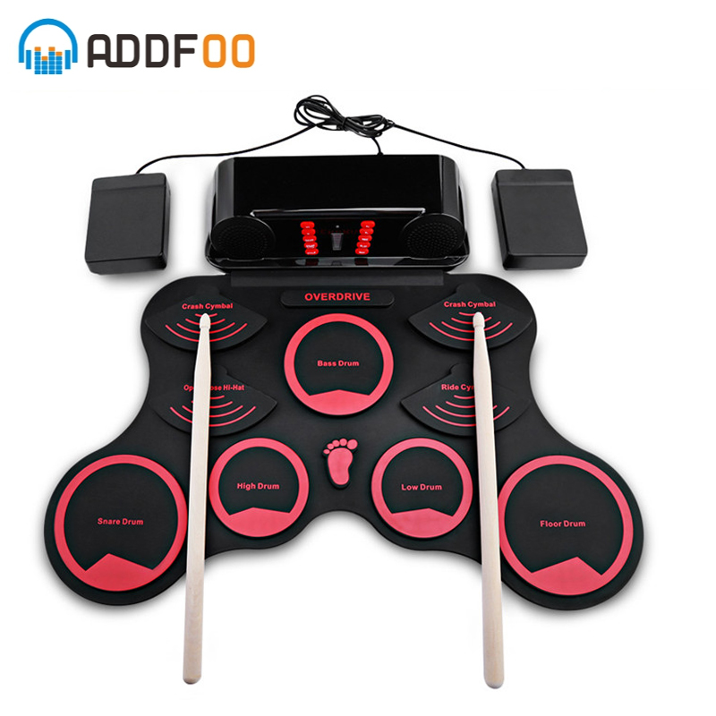 ADDFOO 10 Pads Electronic Roll Up Drum Kit Silicone Conventional Rubber-Type Electronic Board With Recording Function US PlusADDFOO 10 Pads Electronic Roll Up Drum Kit Silicone Conventional Rubber-Type Electronic Board With Recording Function US Plus