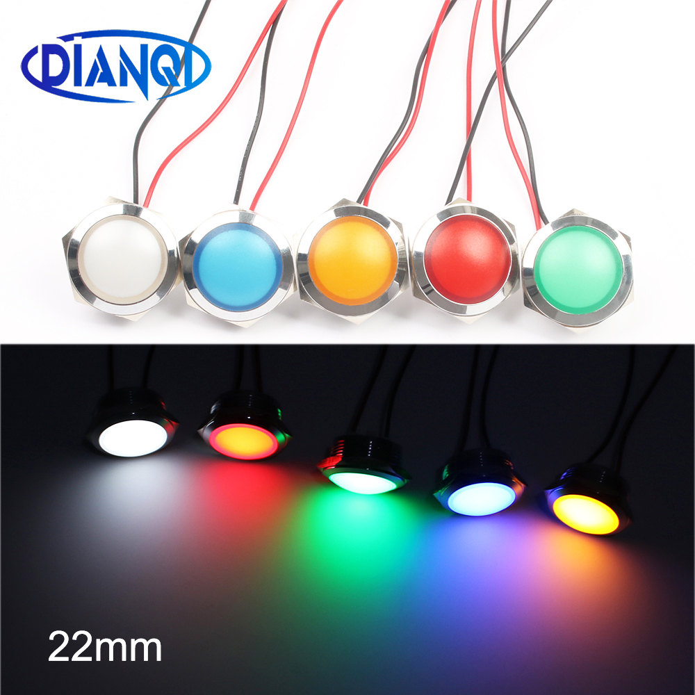 LED Metal Indicator Light 22mm Spherical Round Signal Lamp 3V 6V 12V 24V 220v Red Green White Blue Yellow 22ZSD.QX.X