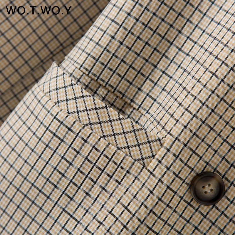 Image 5 - WOTWOY Double Breasted Plaid Blazer Women Khaki Pocket Long Sleeve Office Ladies Blazer Autumn Jacket Female Outerwear Coats-in Blazers from Women's Clothing