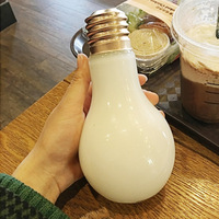 400ml Funny Light Bulb Shape Glass Water Drinks Cup Bottle Flower Vase Home Decor