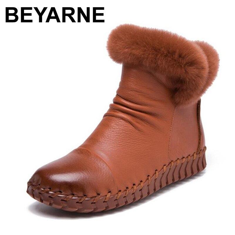 2017 Handgemachten Frauen Winter Stiefel Frauen Echtpelz Winter Schuhe Frau Echtem Leder Warme Knöchel Schnee Stiefel Mujer Chaussure