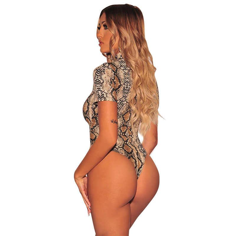 SEBOWEL 2019 женский телесный змеиный принт короткий рукав боди Летний сексуальный дикий стиль женские облегающие костюмы для дам Топы