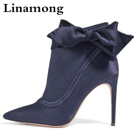 New Spring Women Dark Blue Pointed Toe Liz Suede-trimmed Embellished Satin Ankle Boots Stiletto Heel Bows Butterfly-knot Booties dark blue loose fit knot pattern front sweatshirt