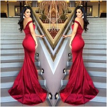 robe de mariage Off Shoulder Sexy Red Mermaid Bridesmaid Dresses Cheap Satin Cheap Party Dress vestido de festa de casamento