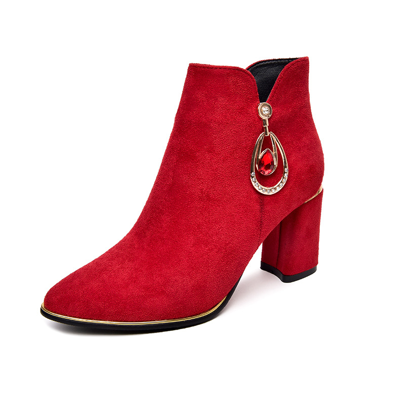 2019 autumn and winter new European and American pointed rhinestone high heel wild womens boots red 02202019 autumn and winter new European and American pointed rhinestone high heel wild womens boots red 0220