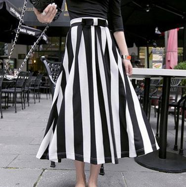 2016 Summer Women Maxi Black And White Vertical Stripe