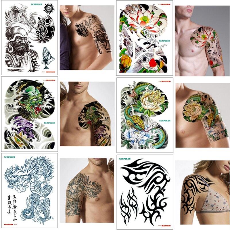 32*24cm Large Shoulder Half Arm Tattoo Scapular Sticker Dragon Lotus Tone Totem Buddha Dragon Design Temporary Body Art Tattoos