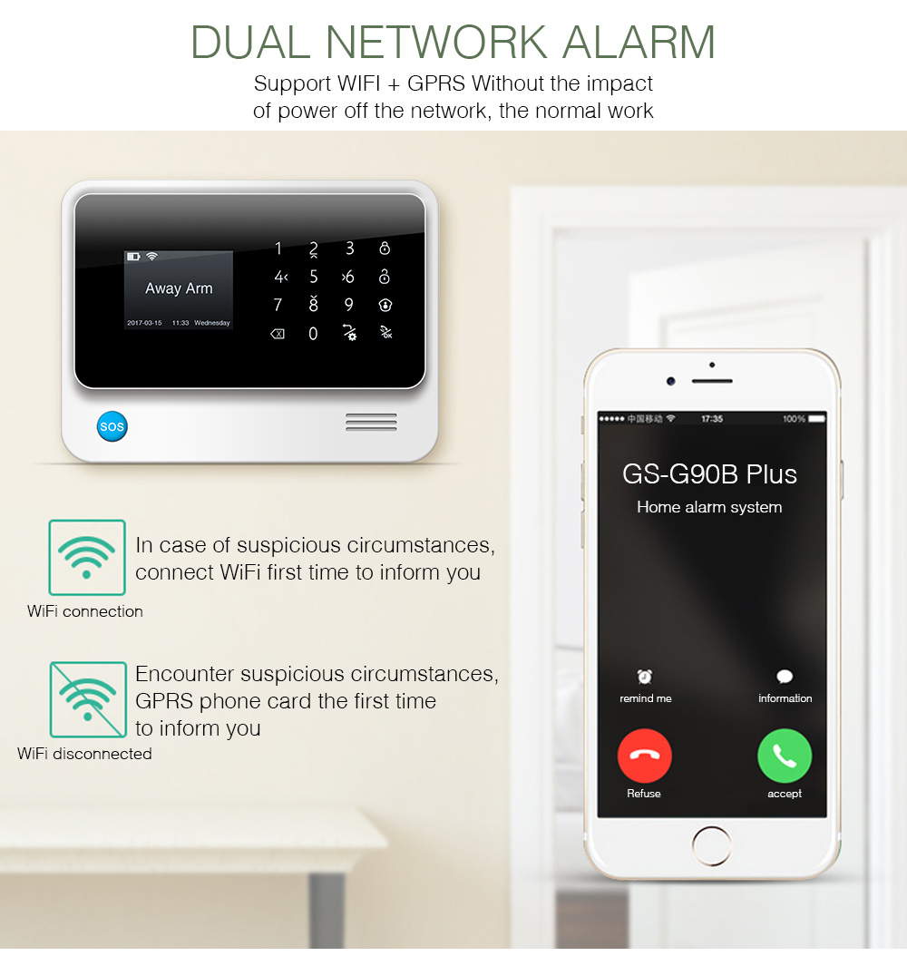 Golden Security G90B Plus WiFi GSM GPRS Wireless Home Burglar Alarm System APP Control Support CID Protocol 8