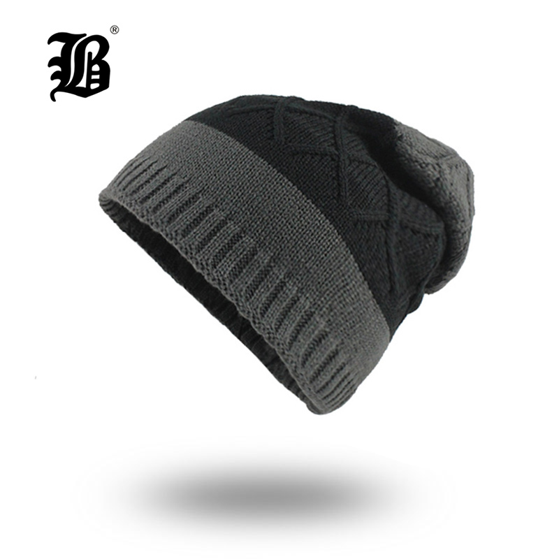 [FLB] Men's winter hat fashion knitted black hats Fall Hat Thick warm and Bonnet   Skullies     Beanie   Knitted   Beanies   Cotton F18037