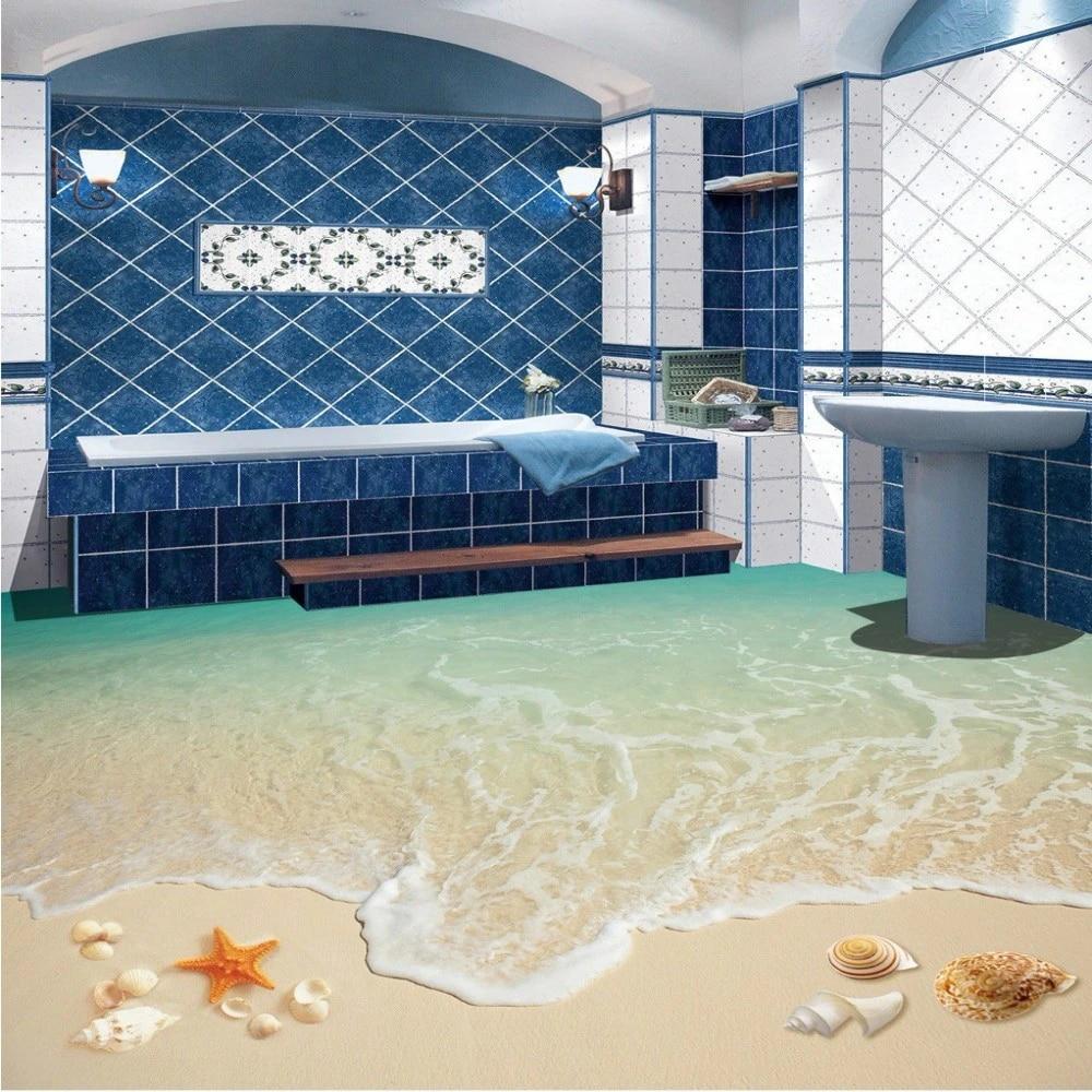 free shipping surf beach living room bathroom 3d floor tile painting wear non slip restaurant study flooring wallpaper mural
