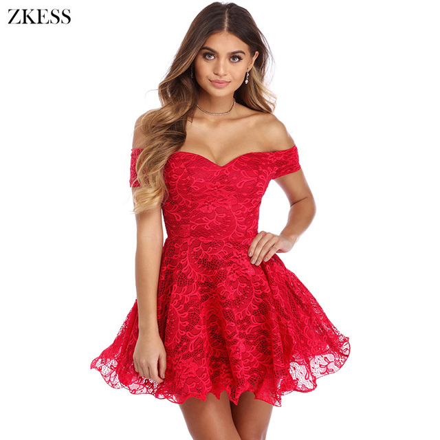 ZKESS Women Strapless Drop Shoulder Lace Skater Dress Fashion Sweet Girls  Style Ruched Sexy Night Club Party Mini Dress LC220259 1093bc205b44
