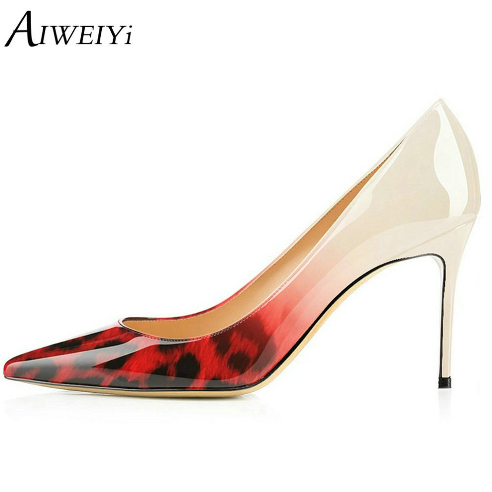 AIWEIYi Sexy Pointed Toe Patent Leather High Heels Pumps Shoes 2018 Woman's Leopard Print Heels Slip On Ladies Wedding Shoes aiweiyi sexy women pumps leopard print high heels round toe slip on women s shoes thin high heels ladies wedding shoes