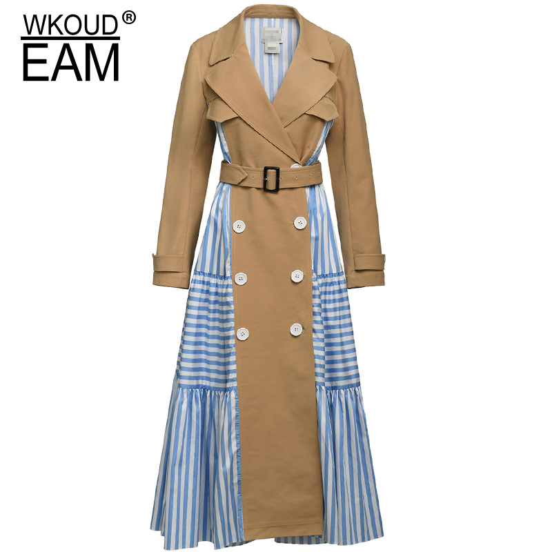WKOUD EAM 2019 New Spring Summer Lapel Long Sleeve Blue Striped Split Joint Personality Windbreaker Women   Trench   Fashion JW82