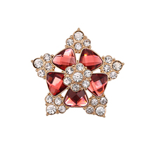 Women Elegant Rhinestone Crystal Petal Flower Brooh Pin Gold Tone Floral Wedding Party Jewelry(China)