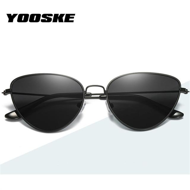 3e02c0739f42 YOOSKE Retro Cat Eye Sunglasses Women Brand Designer Cateye Sun Glasses  Female Red Glasses Small Metal