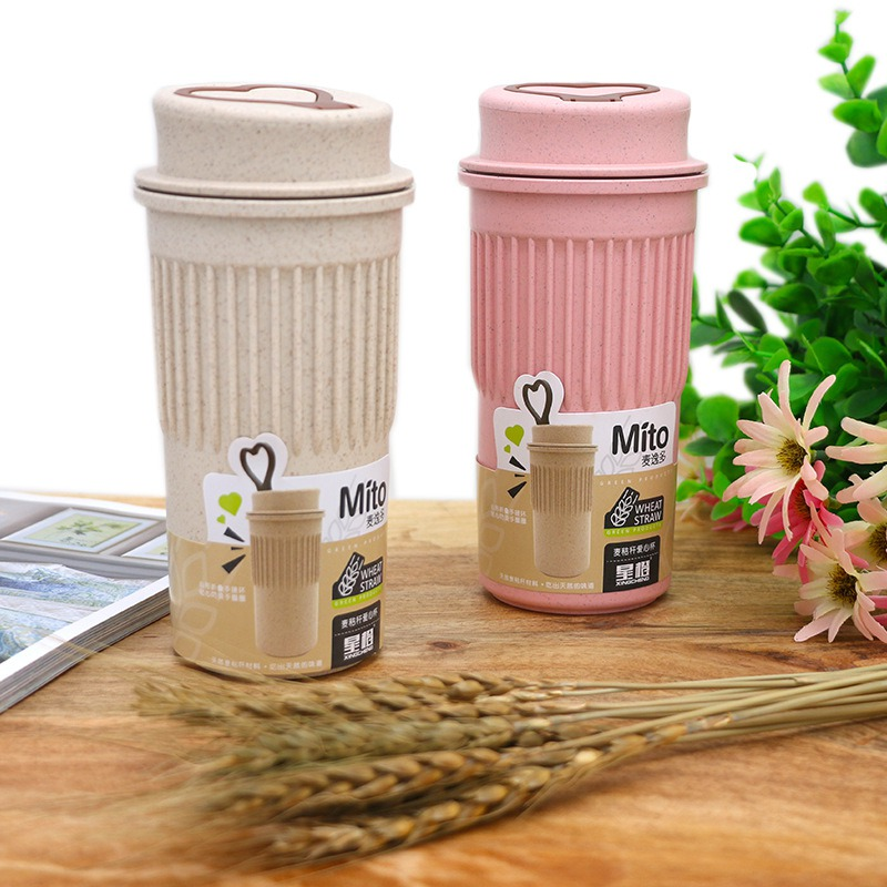 350ml Environmentally friendly wheat straw Bottle Travel Portable Coffee Tea Bottle Coffee Cup Bottle Lid Wheat Stalk Cup