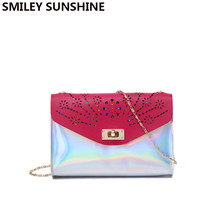 6059a5e714da Holographic PVC Chain Mini Crossbody Bags for Women 2018 Rainbow  Transparent Clutch Female Party Small Shoulder Messenger Bag
