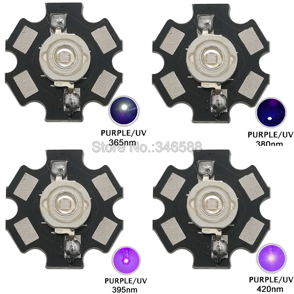 5pcs 3W UV/Ultra Violet High Power LED Emitter Diode W/ 20mm Star Heatsink Optional 365nm 380nm 395nm 420nm