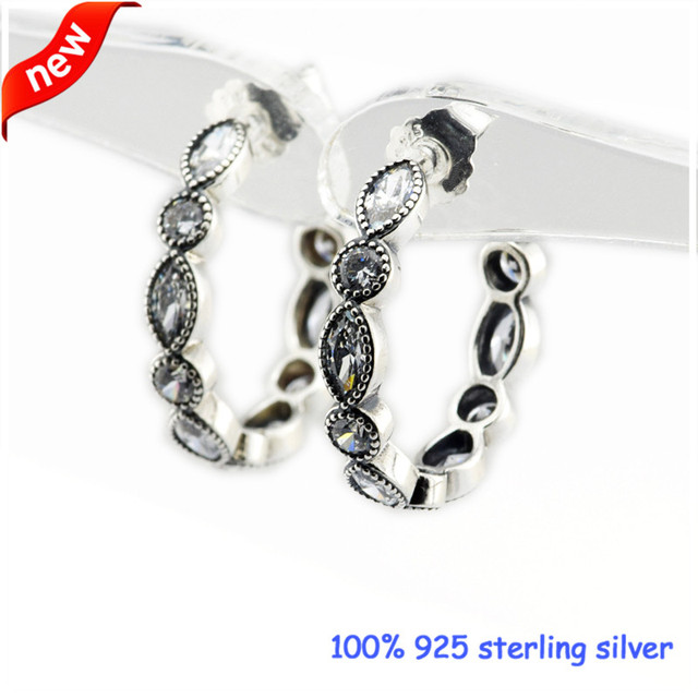 2016 New Alluring Brilliant Marquise Silver Stud Earrings With Clear CZ 925 Sterling Silver Women Jewelry DIY 08E068