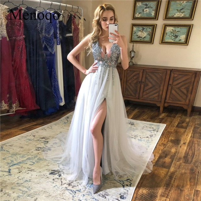 V Neck Sparkly Prom Dresses 2019 Backless Evening Party Dress Elegant Sexy See Through High Split Vestido de Festa Real Photo