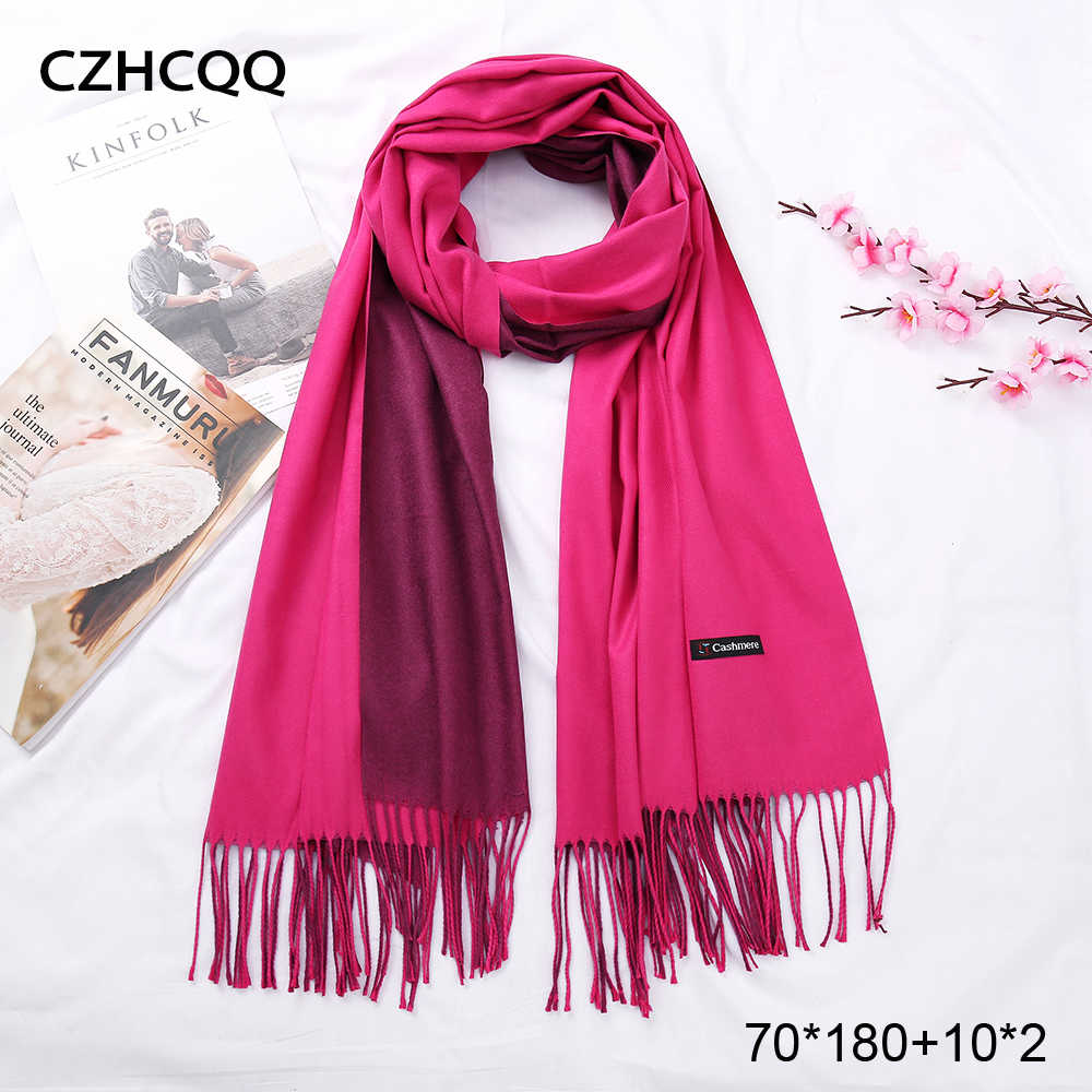 2019 New Double Sided Winter Women Cashmere Solid Scarf Pashmina Shawls And Wraps Female Foulard Hijab Wool Stoles Head Scarves