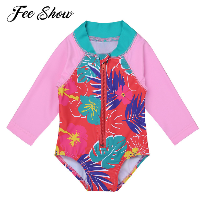 3 24 Months One Piece Long Sleeves Floral Printed Zippered -1170