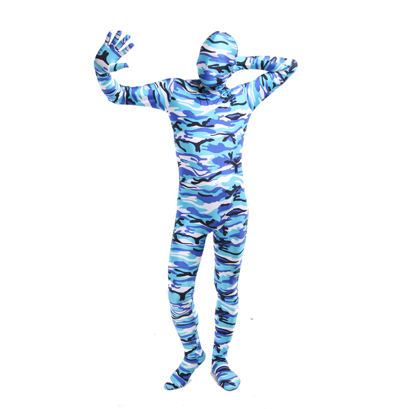 2018 Camouflage Suit Man Zentai Bodysuit Long Sleeve Blue Cosplay Costume Full Body Zentai Lycra Spandex Party Costumes Bodysuit