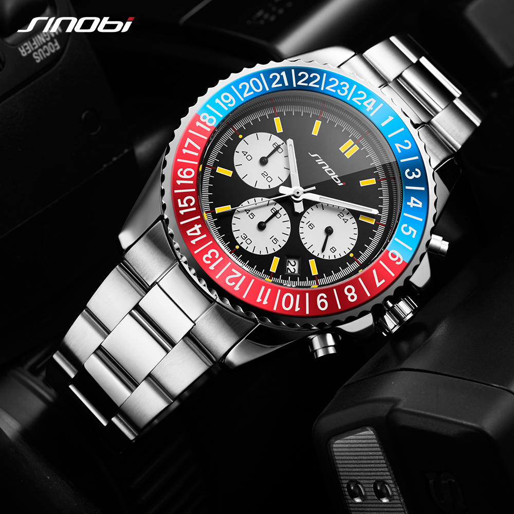 1b210ecf796 SINOBI Relogio Masculino Mens Watch Rotatable Bezel Full Steel Fashion  Business Watch 2018 Chronograph Quartz Watch-in Quartz Watches from Watches  on ...